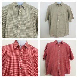 Orvis Checkered Shirts Lot of 2 Brown Red Large